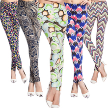 Women's Elastic Print Pattern Ankle-Length Running Tights Breathable High Waist Fitness Yoga Pants Leggings Quick-Dry Sportswear