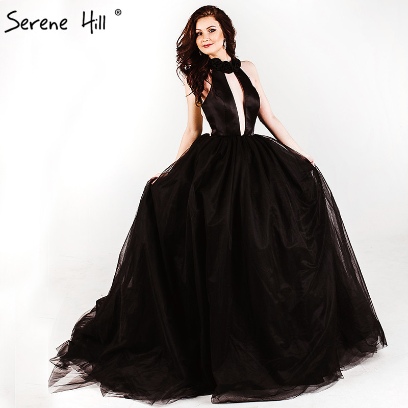 Sexy Backless Black Sleeveless Pleat Tulle Wedding Dress ...