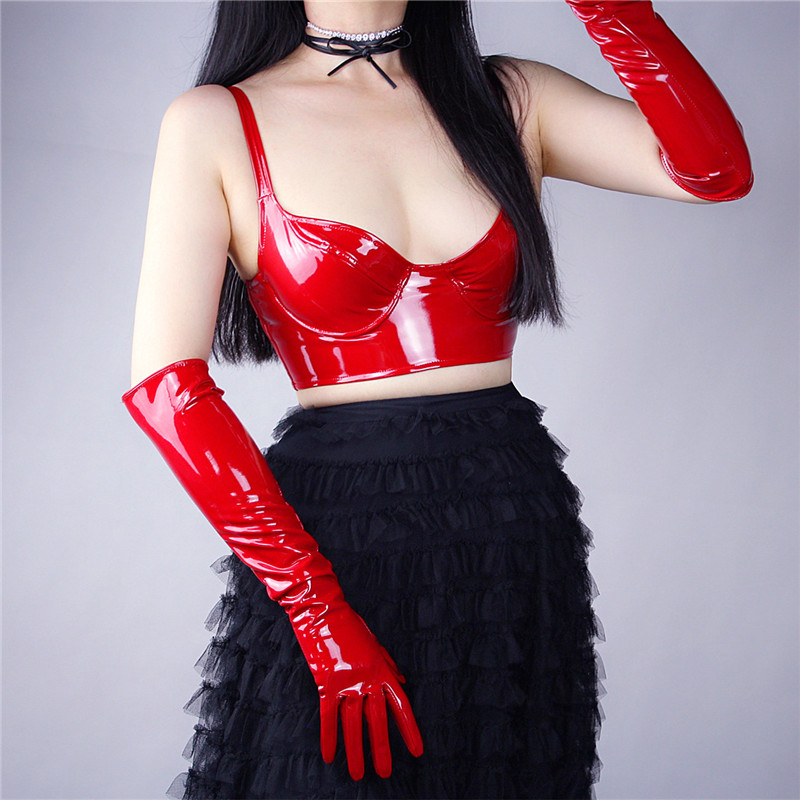 Patent Leather Corset Bright Red Black With A Steel Ring Elastic Bottoming Bustiers Sling Bra PU Imitation Leather VG06