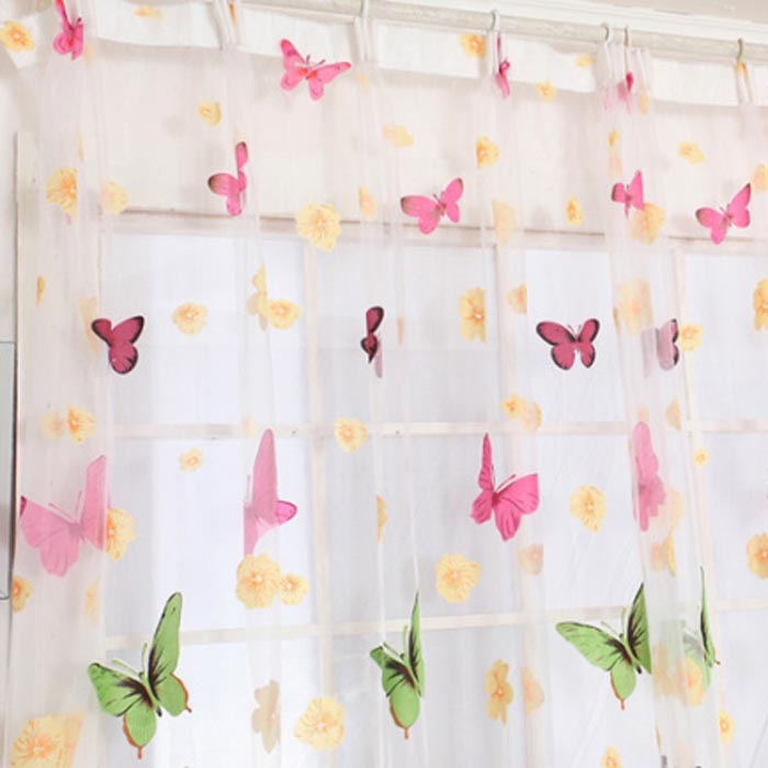 1 PCS Butterfly Print Sheer Window Panel Curtains Room Divider New