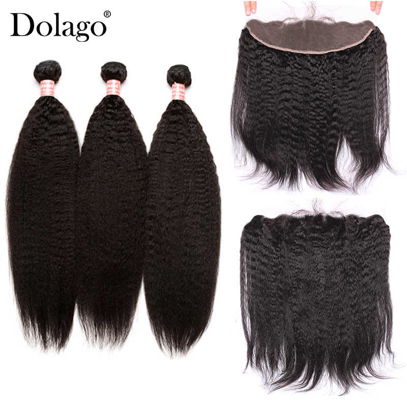 Kinky Straight Hair 13x4 Lace Frontal Closure With Bundles 4 Pcs/Lot 3 Brazilian Virgin Hair Weave Dolago Products