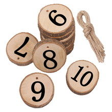 10pcs/lot Natural Round Wooden Pieces 1 To 10 Number  Wood Slice Hanging With Hemp Rope Gift Tags For Wedding Party