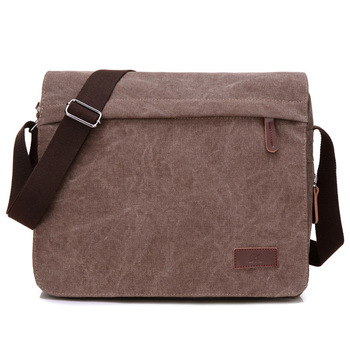 16OZ Canvas Crossbody Shoulder Bag Men&Women's Messenger Bags Zipper Flap Casual Travel Pack For A4 File 13' Laptop