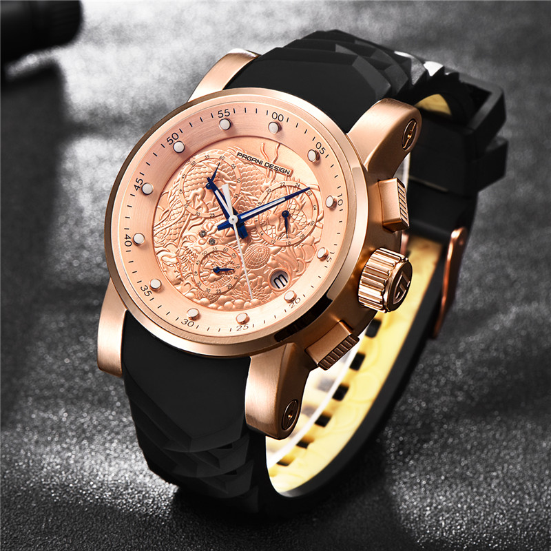 PAGANI DESIGN Brand Men Watches Luxury Chinese Dragon Calendar New Waterproof Silicone Strap Fashion Quartz Watch dropshipping 3d decorative personality creative removable wall sticker