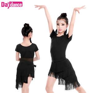 c010ee301 Girls Children Fringed Latin Dresses Spandex Mesh Salsa Ballroom Latino  Training Dance Dress For Kids