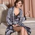 Robe de seda robe de seda de leopardo primavera e outono