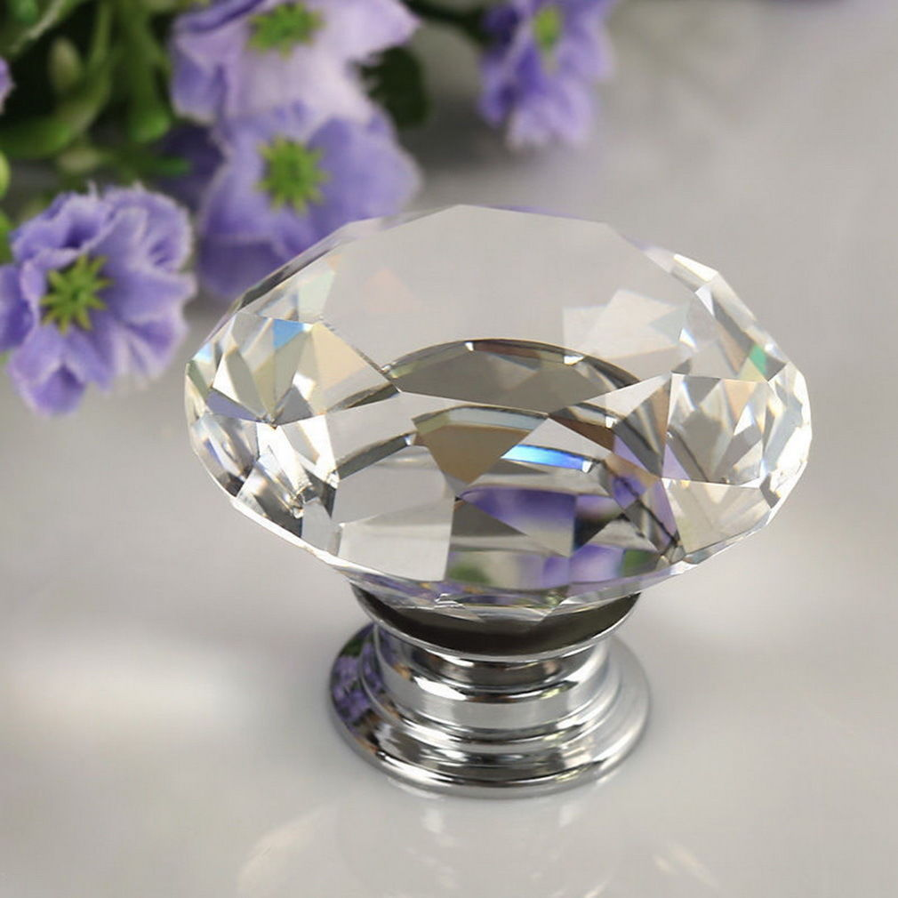 4Pcs/pack 25mm Diamond Shape Crystal Glass Drawer Cabinet Knobs And Pull Handles Kitchen Door Handles Wardrobe Hardware