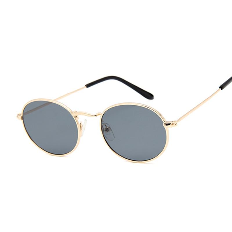 Retro Small Frame Sunglasses Women Oval Mirror Metal Sun Glasses Female Vintage Brand Designer Lunette De Soleil Femme