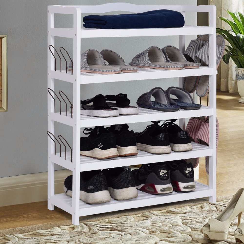 купить Giantex 5-Tier Wooden Shoe Rack Shelf Storage Organizer Entryway W/ Shoe Stretcher White Living Room Furniture HW57486WH по цене 3059.21 рублей