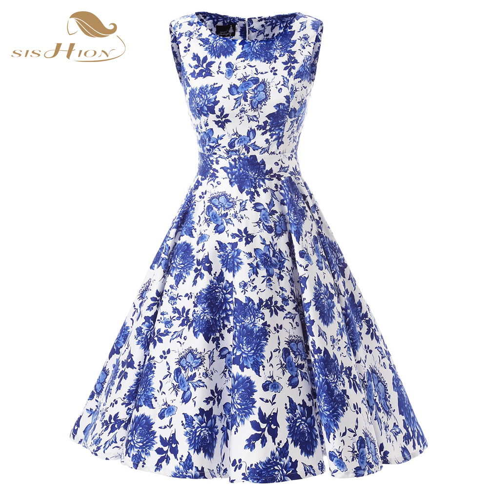 030eadb055c SISHION Women Casual Dress Sleeveless Tank Tunic Blue Floral Print Large  Swing Vintage Hepburn Ladies Cotton Summer Dress VD0106-in Dresses from  Women s ...
