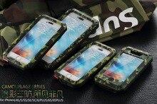 Роскошные доспехи антидетонационных камуфляж Металл Алюминий мобильный телефон сумка чехол Для iphone 7 SE 4S 5 5C 5S 6 6 S Плюс случае, Закаленное стекла
