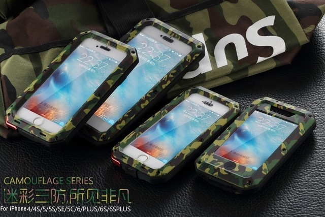 R-JUST Luxury armor Anti-knock camouflage Metal Aluminum Phone Coque Cover cases for iphone 8 X 7 SE 4S 5 5C 5S 6 6S Plus Glass
