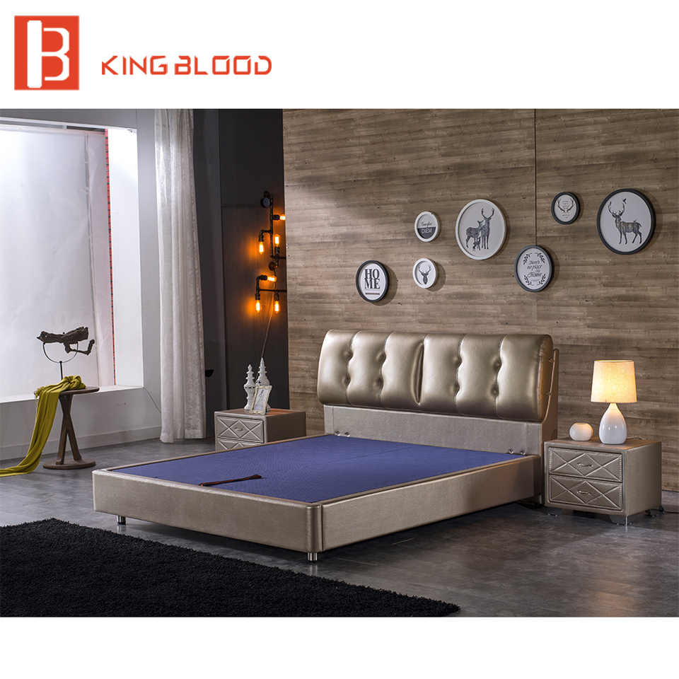 indian modern genuine leather solid wood double bed designs ...