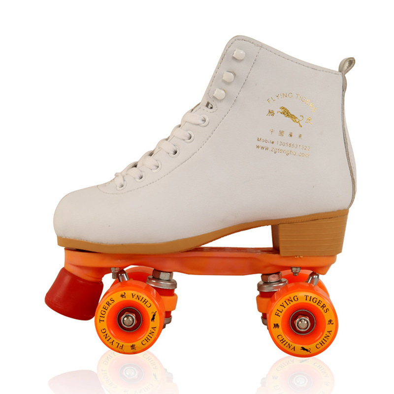 Girls Outdoor Sports Equipment Roller Skates with White Geniune Cow Leather Breathable Dual Lines Roller Skating Shoes