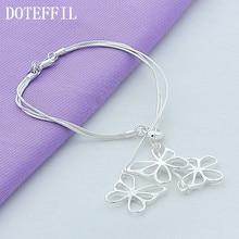 DOTEFFIL 925 ayar gümüş üç kelebek yılan zincir bilezik kadın Charm düğün nişan moda parti takı