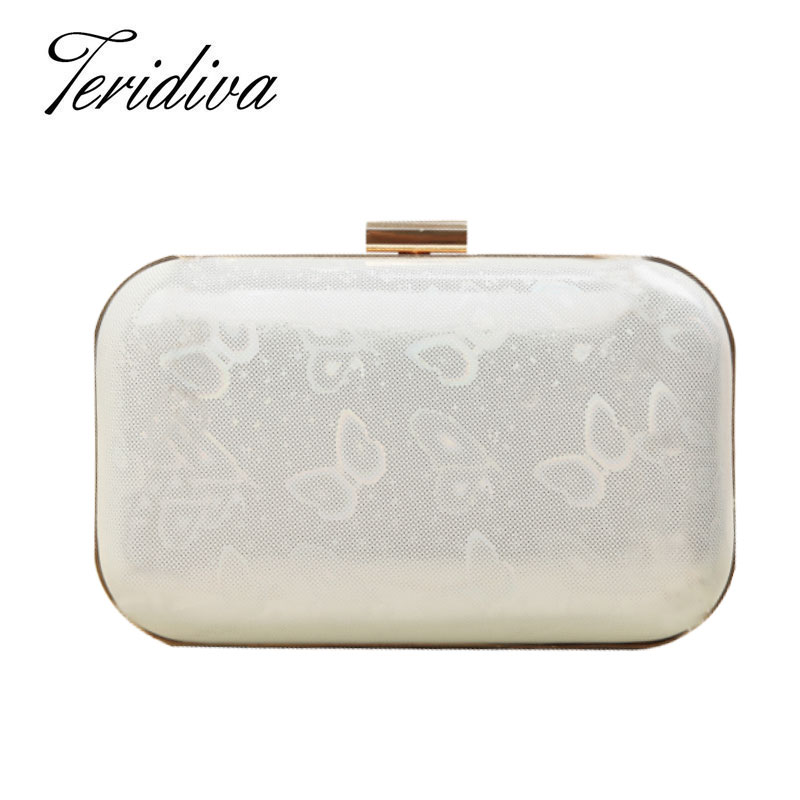 Teridiva Evening Bags Small Day Clutches Women Purses Wallet Shoulder Bag for Woman Hard Case Box Clutch Bow Handbag