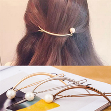 1 pcs Fashion Hair Accessories Simple Imitation Pearl Hairpin Alloy Crescent Shaped Curved Clips For Women Jewelry Gift