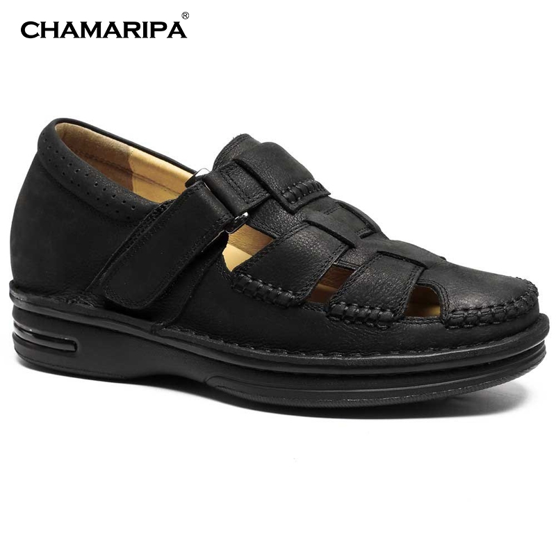 CHAMARIPA Increase Height 7cm/2.76 inch Taller Elevator Shoes Black Mens Leather Summer Sandals  Height Increasing Shoes  chamaripa increase height 7cm 2 76 inch taller elevator shoes black mens leather summer sandals height increasing shoes