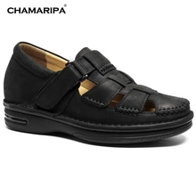 CHAMARIPA Increase Height 7cm/2.76 inch Taller Elevator Shoes Black Mens Leather Summer Sandals Height Increasing Shoes