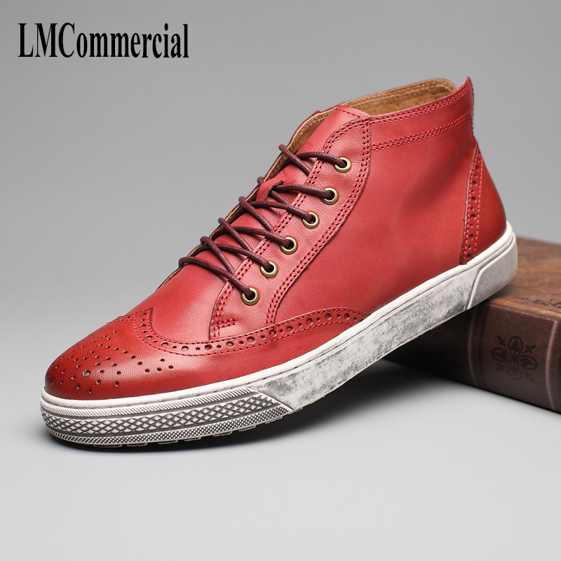 2018  men 's leather shoes spring British casual shoes spring and autumn British retro All match cowhide boots men casual shoes