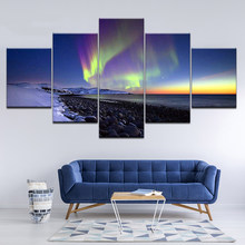 Home Decor Modern HD Print Paintings Dazzle Colour Seaview Modular 5 Pieces Poster Tableau Wall Art Landscape Picture Canvas(China)