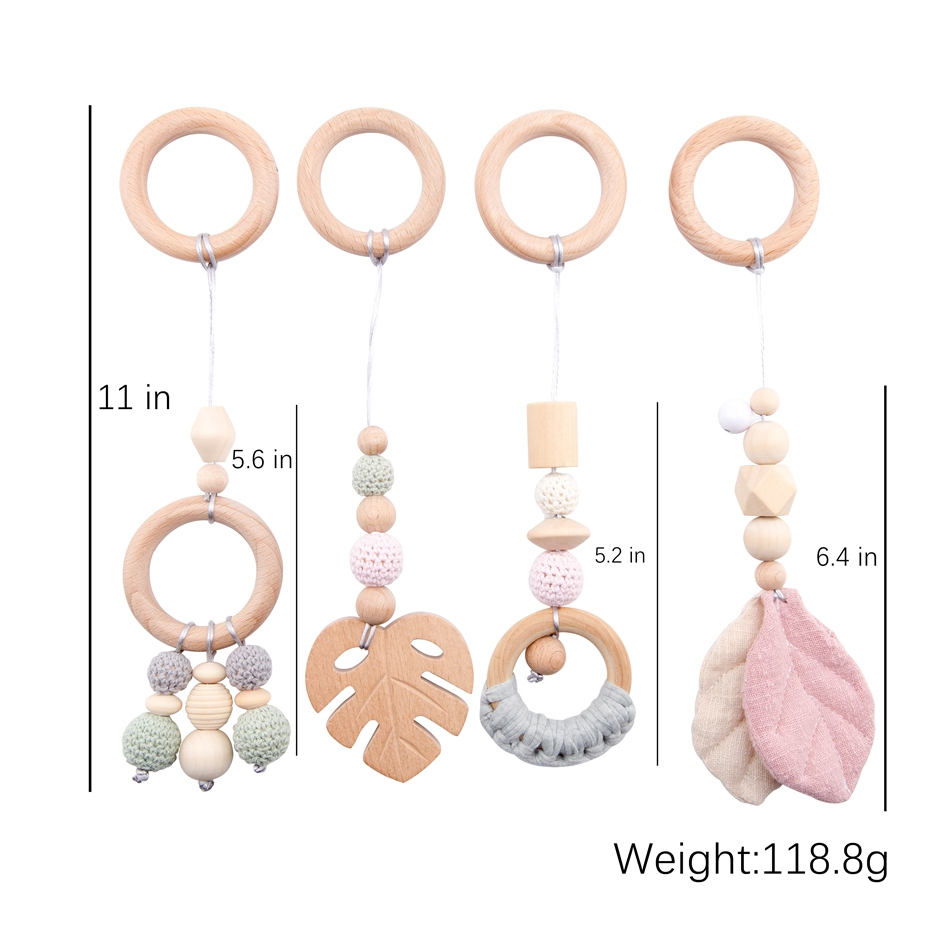 1Set Play Gym Wood Sensory Mobile Rattle Baby Toys Nordic Room Decoration Gift Infant Photography Prop Baby Rattles For Stroller
