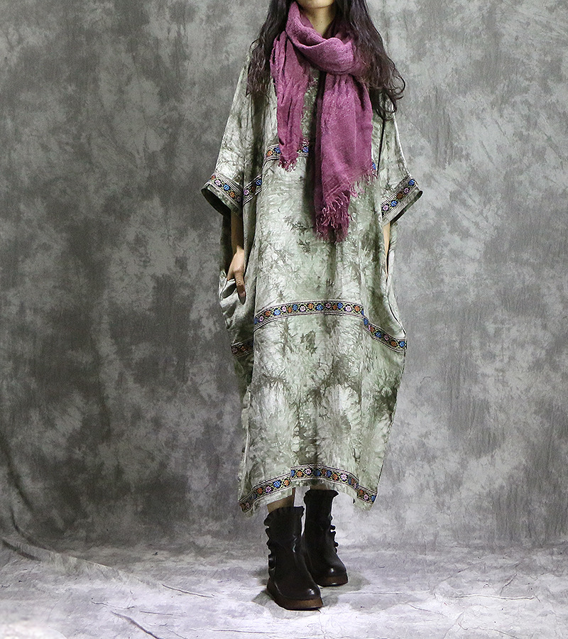 Women Cotton Linen Printed retro Bat Sleeve Plus Size Dress Ladies Loose Robe Dress Vintage Contrast