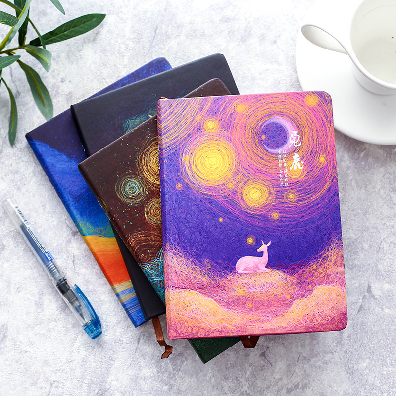 JOUDOO Classic Night Sky Deer Painted Notebook 86 Sheets 32K Paper Journal Daily Notepad Boys Girls School Office Supplies joudoo vintage classic galaxy night sky printed note book for kids daily week planner notebook school office supplies notepad