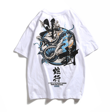 Japanese Devil Snake Print T-shirts Cool Treetwear Fashion Men's T-shirt Cotton Tid Hip-hop Loose Short-sleeved Tshirt Unisex