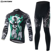 XINTOWN Men Long Sleeve Cycling Jersey Set Bicycle Cycling Clothing Outdoor Maillot Sportswear Bike Riding Team Clothing