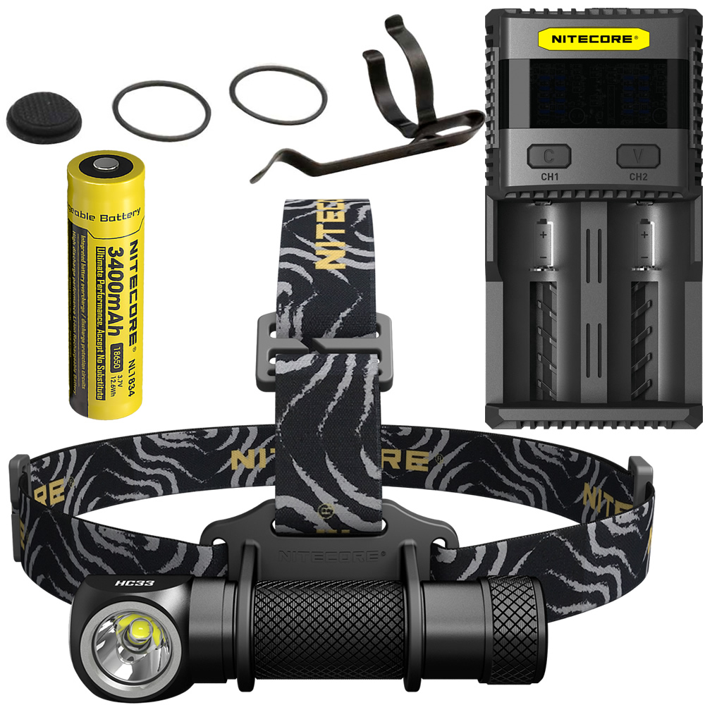 2018 NITECORE HC33 + SC2 Charger +18650 Rechargeable Battery Headlight 1800 Lumen Headlamp Waterproof Flashlight Outdoor Camping nitecore hc33 1800lumen headlamp um10 charger 18650 rechargeable battery headlight waterproof flashlight outdoor camping travel