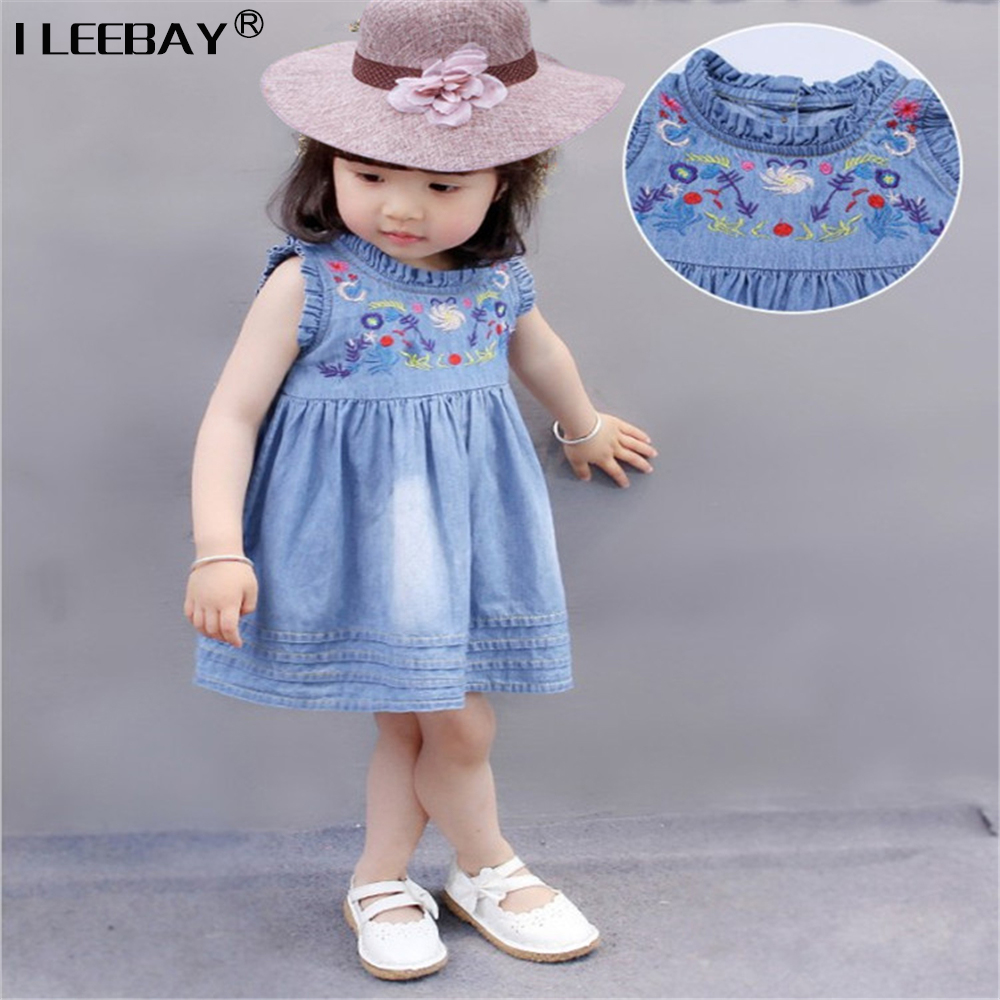 Baby Girl Cute Clothing Girls Denim Sundress Summer Dress For Girls Kids Jeans Clothes 2017 Cotton Children Printed Dress Lovely 2017 new fashion brand summer kids clothes children clothing girls dress baby kids princess dress summer denim holiday sundress