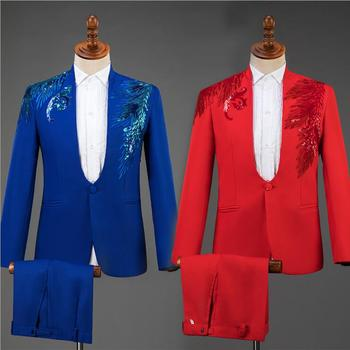 wedding suits for men blazer Stand collar sequin costume slim masculino latest coat pant designs chorus groom clothes red blue