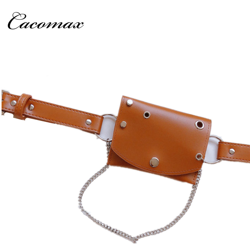 2018 Cacomax Fashion Women Waist Bag Quality PU Leather Belt Bag Pack For Female Travel Vintage Waist Pouch Fanny Pack Girl