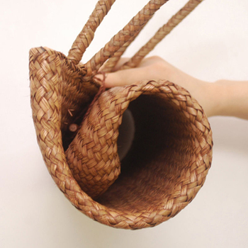 FGGS-Women Handbag Summer Beach Bag Rattan Woven Handmade Knitted Straw Large Capacity Totes Women Shoulder Bag Bohemia New 3