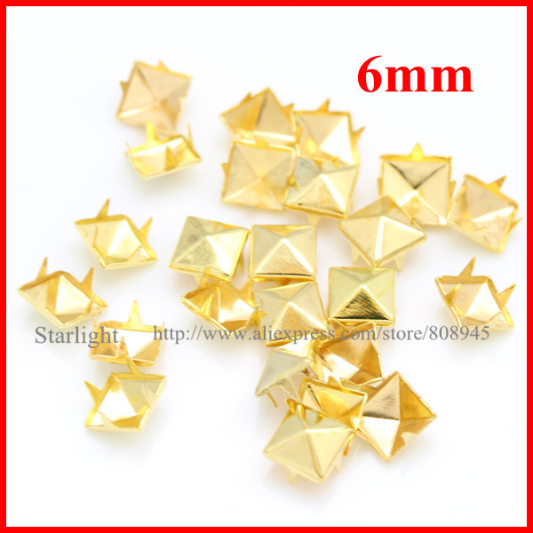 Giant 1-inch golden pyramid studs for clothing studs and spikes Bag of 100