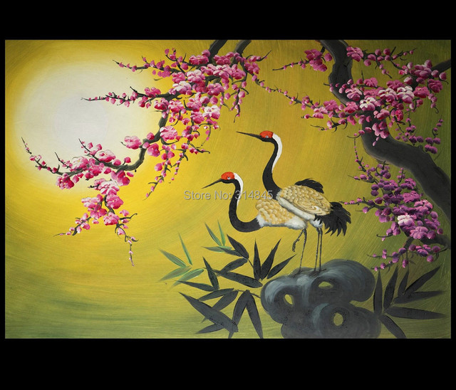 Crane Love Birds Framed Abstract Artwork Wall Decor Oil Painting on ...