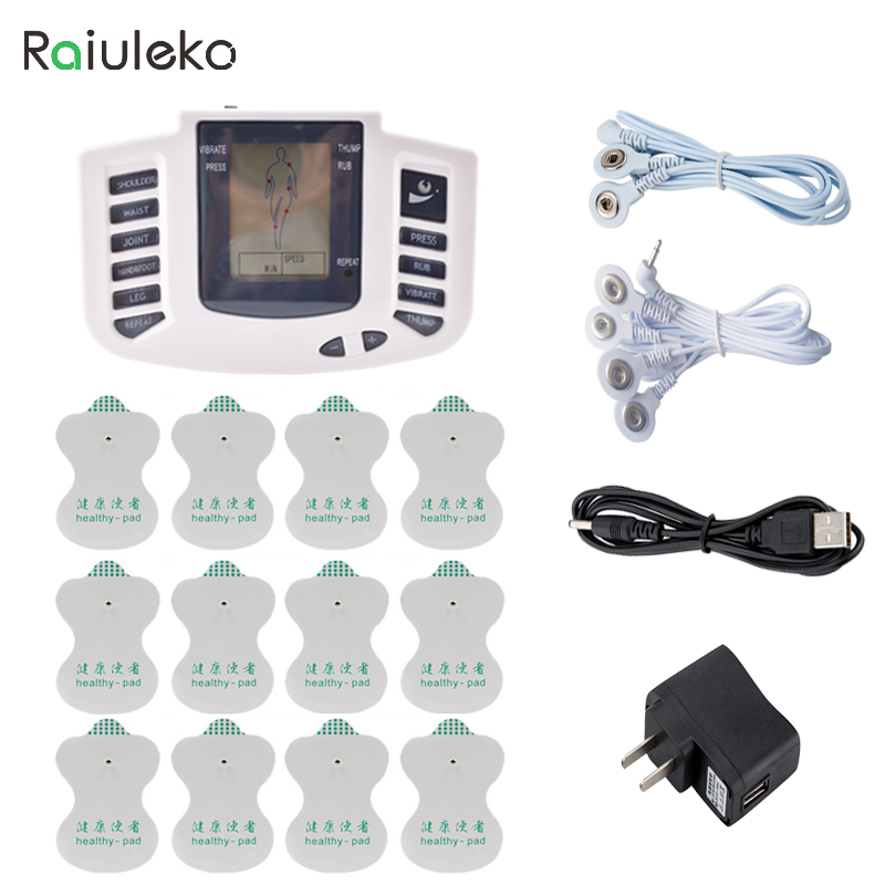 Raiuleko Health Care Electrical Muscle Stimulator Massage Tens Acupuncture Therapy Machine Slimming Body Massager 12 pcs Pads 2 pcs electrical digital slimming acupuncture massager relieve muscle pain therapy machine with 4pcs electrode pads for tens