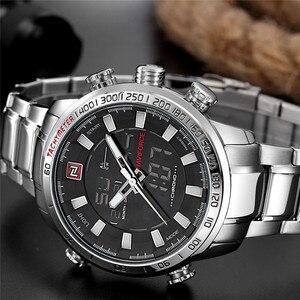Image 4 - NAVIFORCE Лидирующий бренд мужские военные спортивные часы мужские s светодиодный аналоговые цифровые часы Мужские кварцевые часы из нержавеющей стали Relogio Masculino 9093
