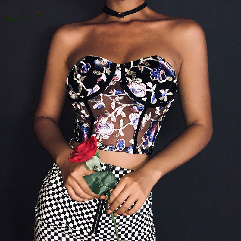 2019 Summer Women Vintage Embroidery Floral Tube   Top   Ladies Floral Hollow Out Bralette   Tank     Top   Sexy Transparent Brasier Mujer