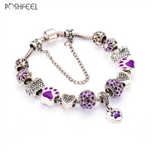 Poshfeel Silver Plated Lovely Dog Purple Heart Charm Bracelets For Women Fashion Diy Jewelry Femme Accessories Mbr170102