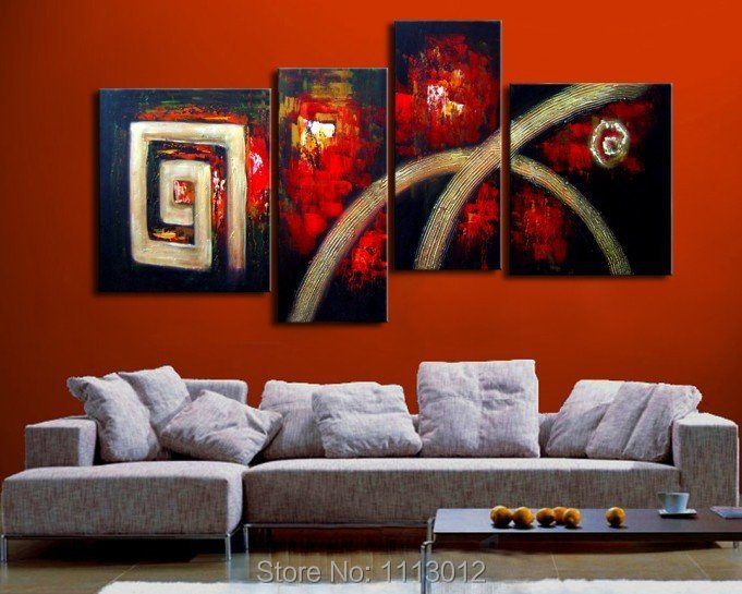 Hot New Red Line Knife Letter Flower Oil Painting On Canvas Abstract 4 Panel Sets Home Wall Arts Decor For Living Room Sale