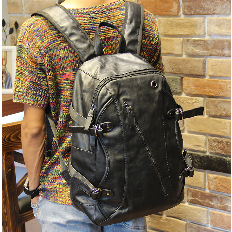 ФОТО Black high quality PU leather Backpacks Travel bag Men fashion Casual Luggage bag unisex College style School bag Laptop bag