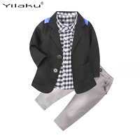 Yilaku Children Clothing Boy Clothes Set Kids Plaid Shirt+Coat+Jeans 3 Pieces Set Boys Outfits Toddler Baby Boys Clothes Sets