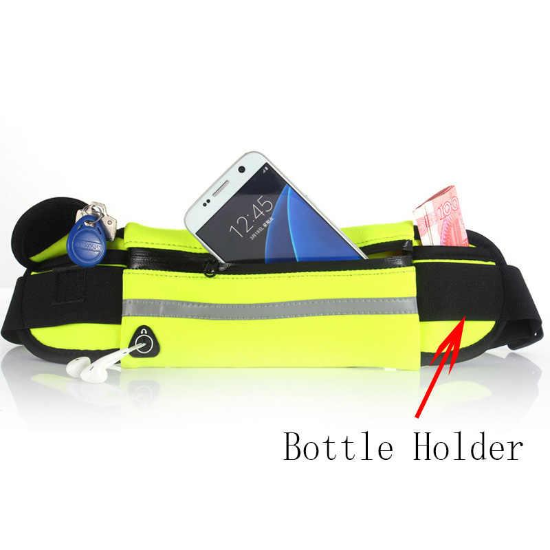Lari Tas Pinggang Olahraga Saku Jogging Pack Ponsel Kantong Tahan Air Sabuk Dompet dengan Pemegang Botol Anti-Theft