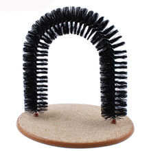 PAWFECT New Arrival Good Arch Pet Cat Self Groomer With Round Fleece Base Cat Toy Brush Toys For Pets Scratching Devices