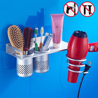 Nail Free Bathroom Shelf Hair Dryer Holder Wall Mounted Aluminum Bathroom Accessories Hair Dryer Stand For