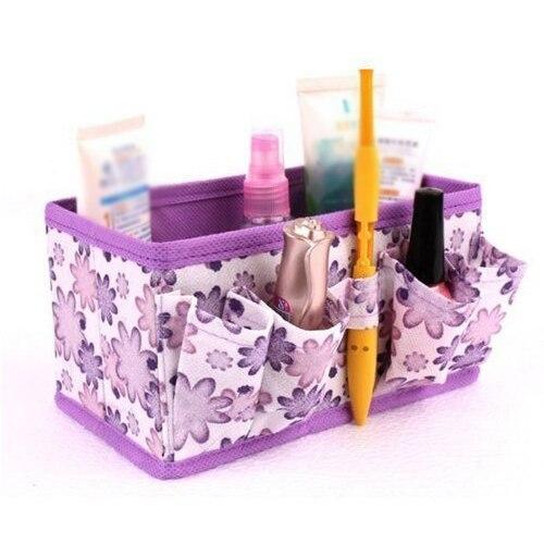 У новые Макияж коробка для хранения косметики сумка яркий организатор складная Макияж стационарный контейнер (фиолетовый)