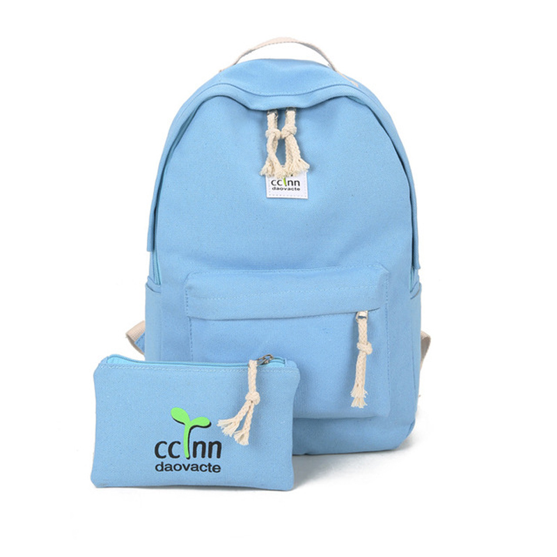 2pcs Cute Canvas School Student Backpack for Teenager Female Casual Backpack Shoulder Bag Official Travel Backpack