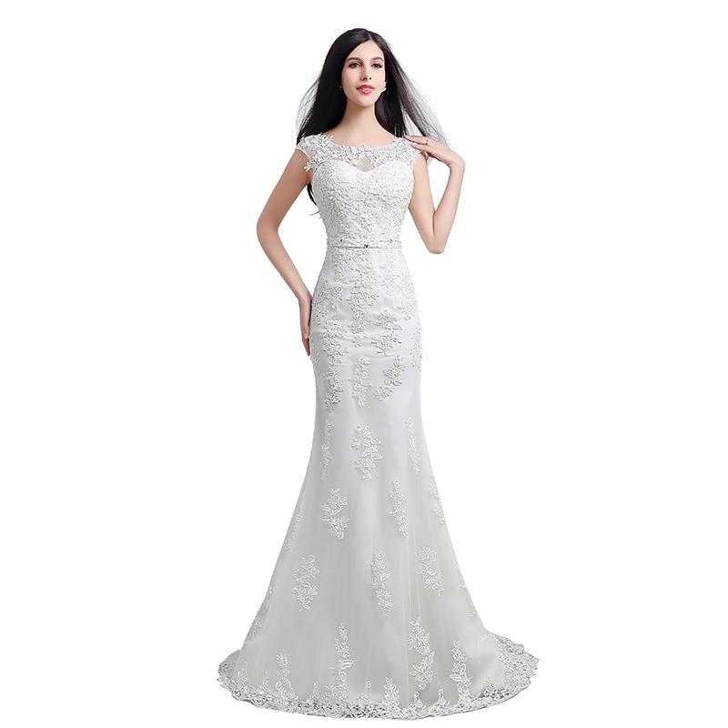 Wedding Gowns Plus Size Cheap: White Cheap Simple Wedding Dresses Mermaid 2017 Sheer Neck